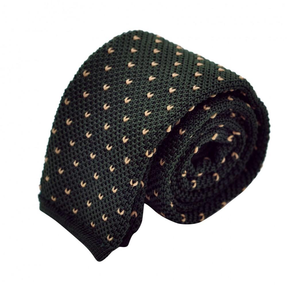 Cravate Tricot Vert bouteille à pois blancs
