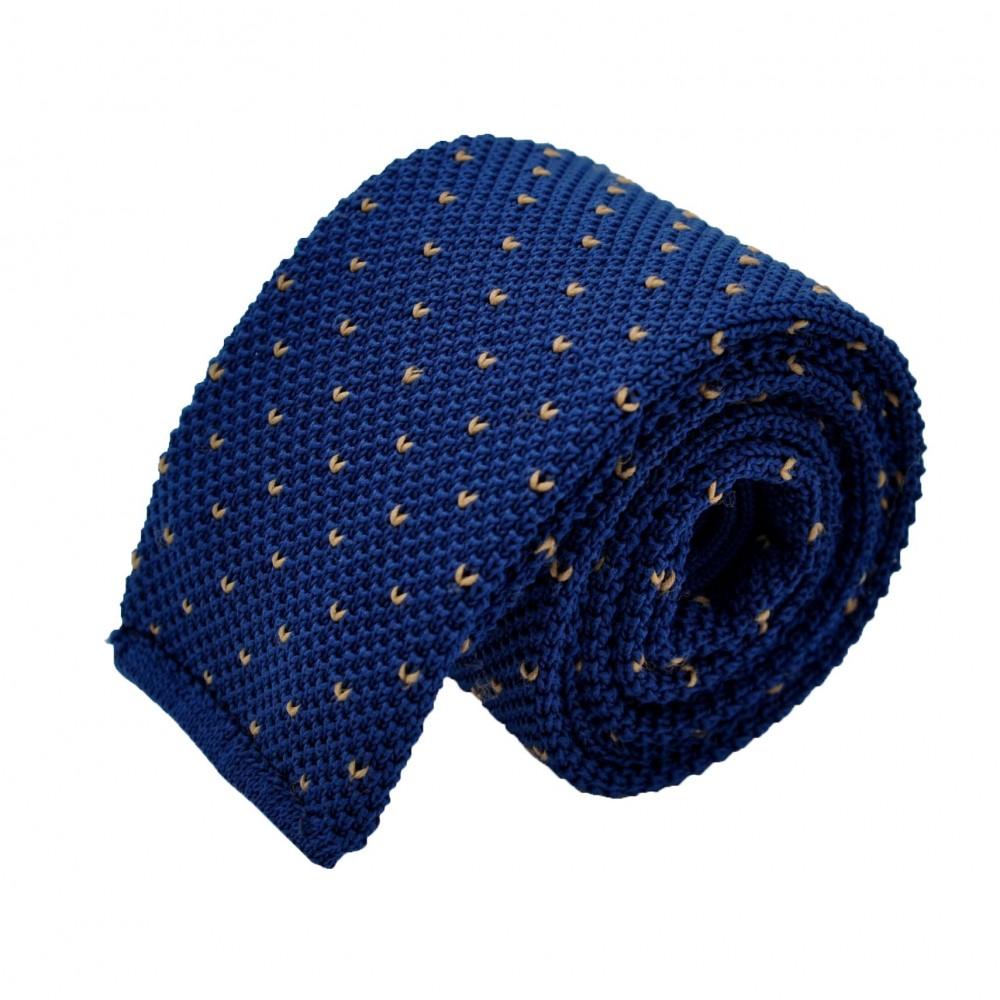 Cravate Tricot Bleu indigo à pois blancs