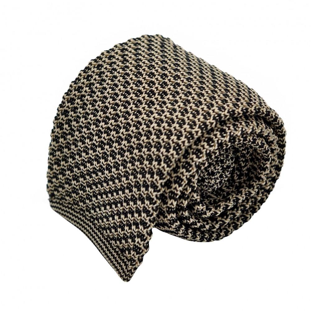 Cravate Tricot vintage quadrillée. Noir