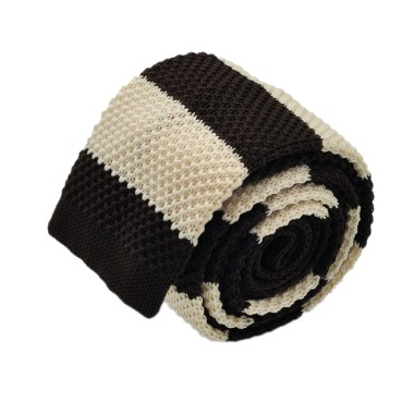 Cravate Tricot Marron et Beige à rayures. Bout carré.