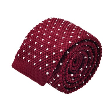 Cravate tricot pour homme. Bordeaux à pois blancs.