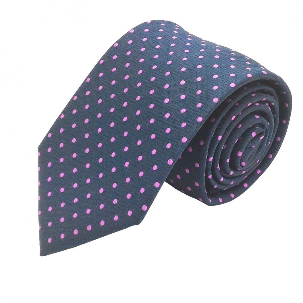 Cravate Homme Attora. Bleu marine à pois violet. 100% soie