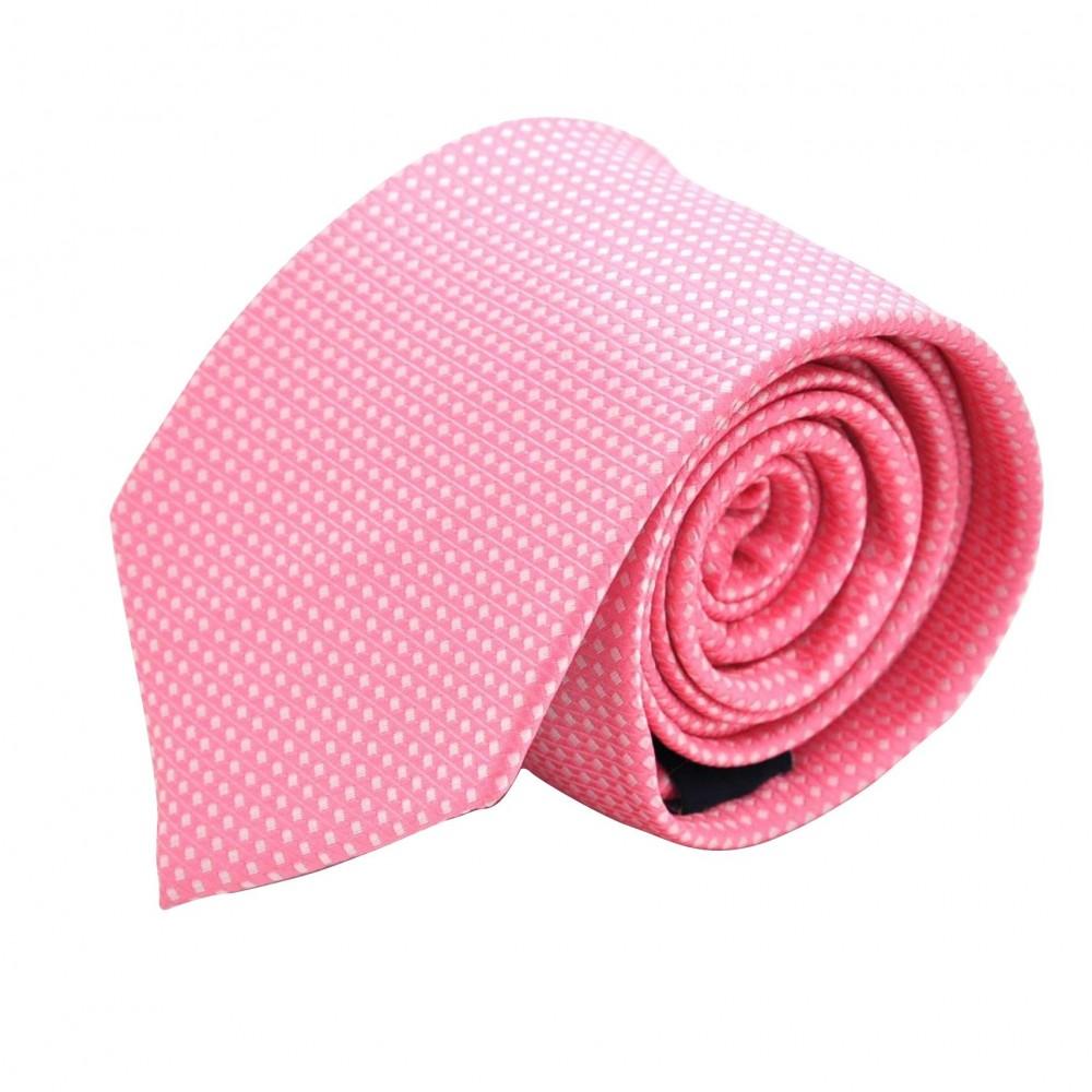 Cravate Homme Attora. Rose à petits carreaux. 100% soie