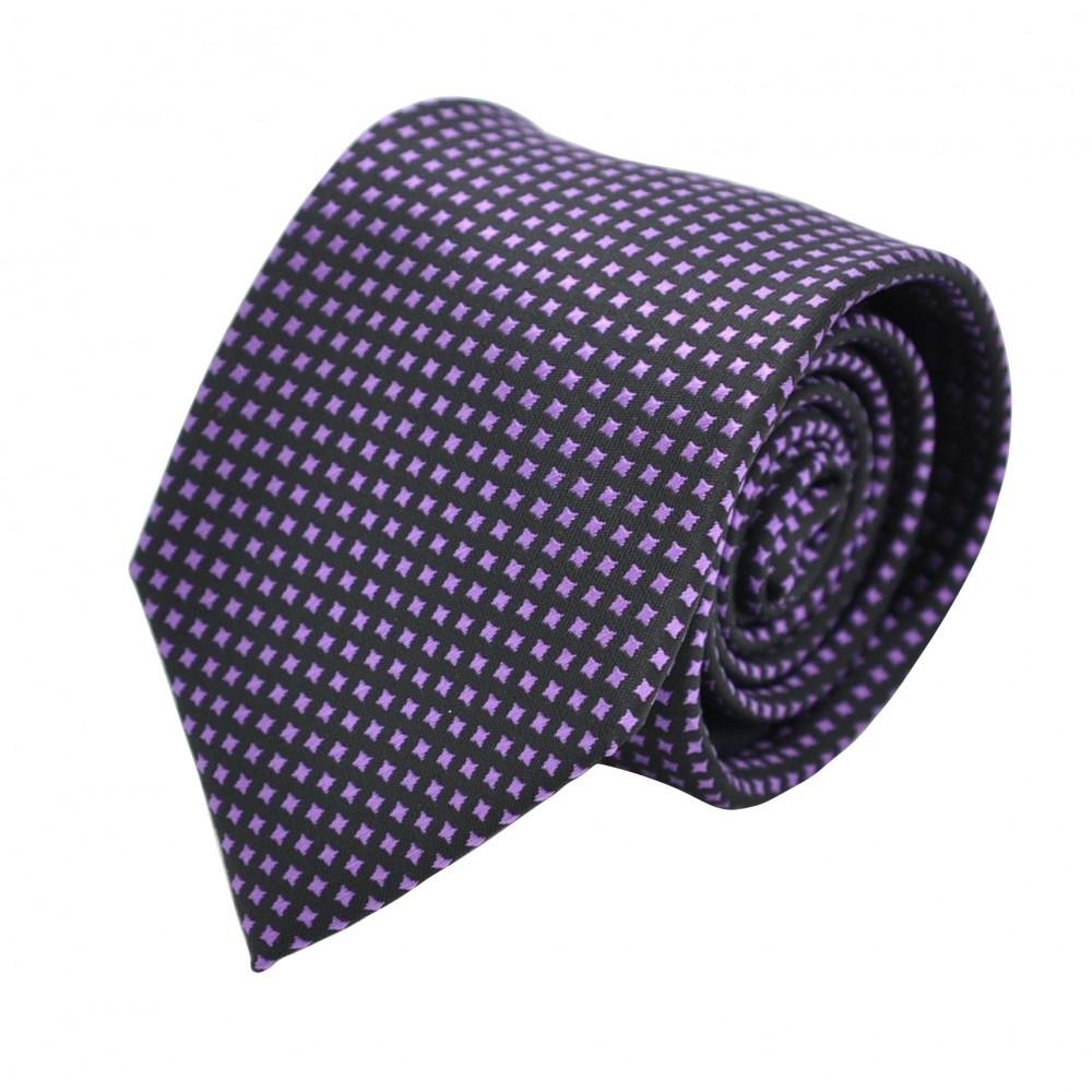 Cravate Homme Attora. Noir à motifs violet