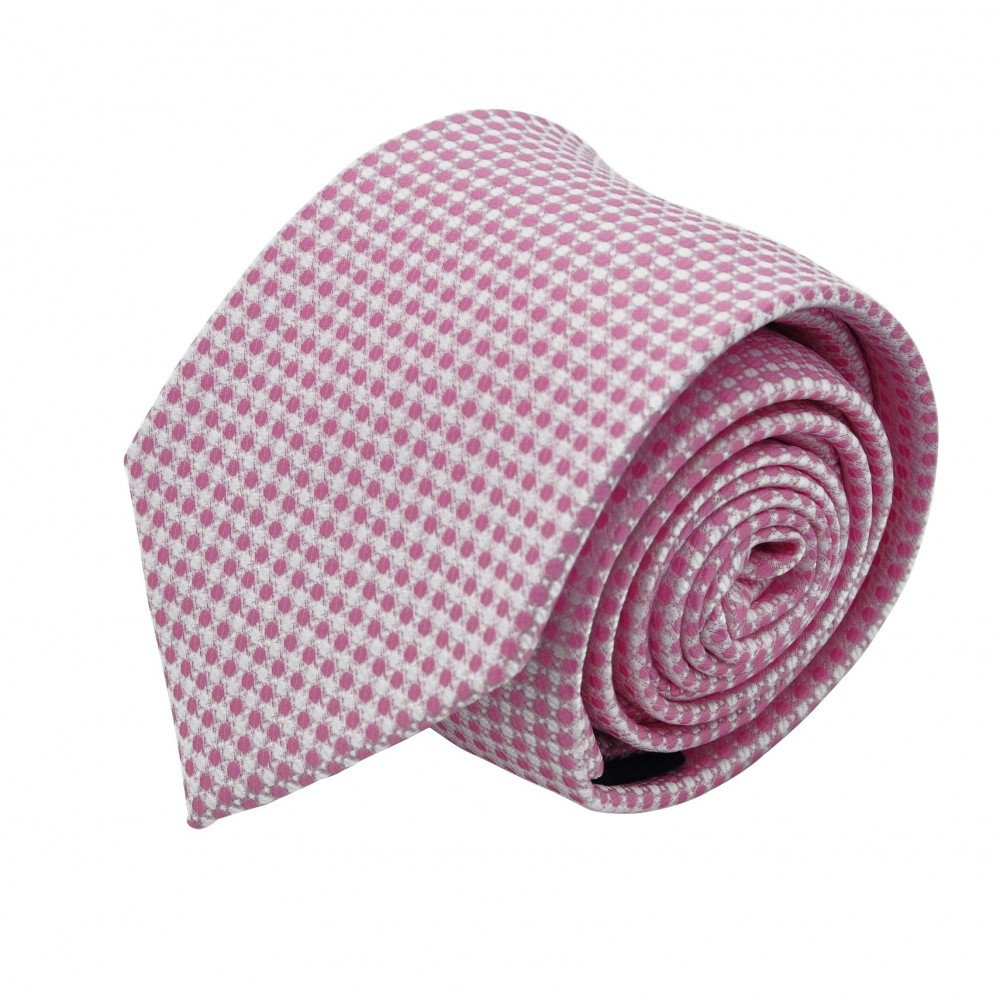 Cravate Homme Attora. Rose à petits motifs ronds.