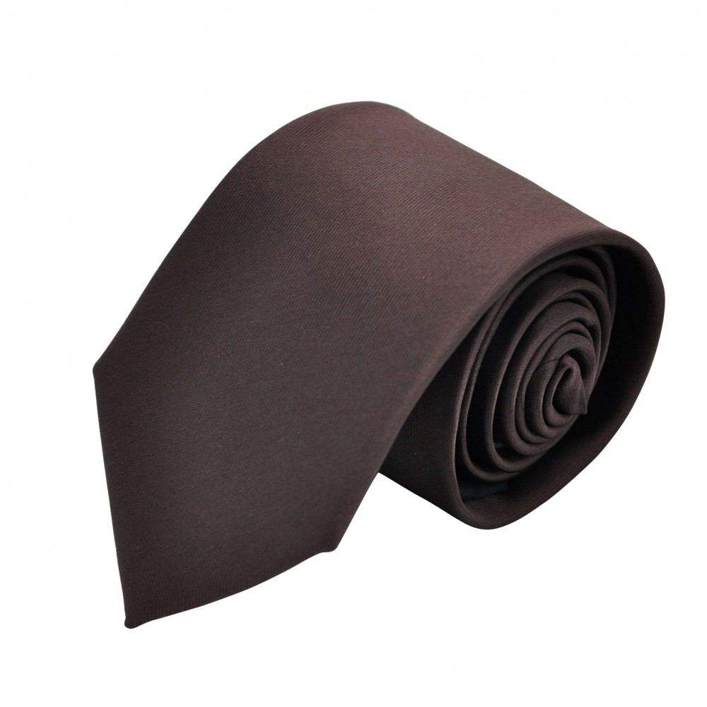 Cravate Homme Attora. Marron chocolat uni.