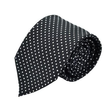 Cravate Homme Attora. Noir à fins pois blancs.