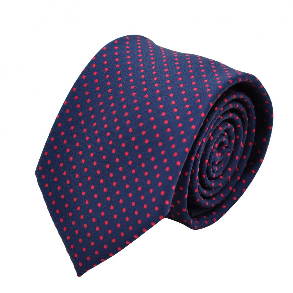 Cravate Homme Attora. Bleu marine à pois rouges