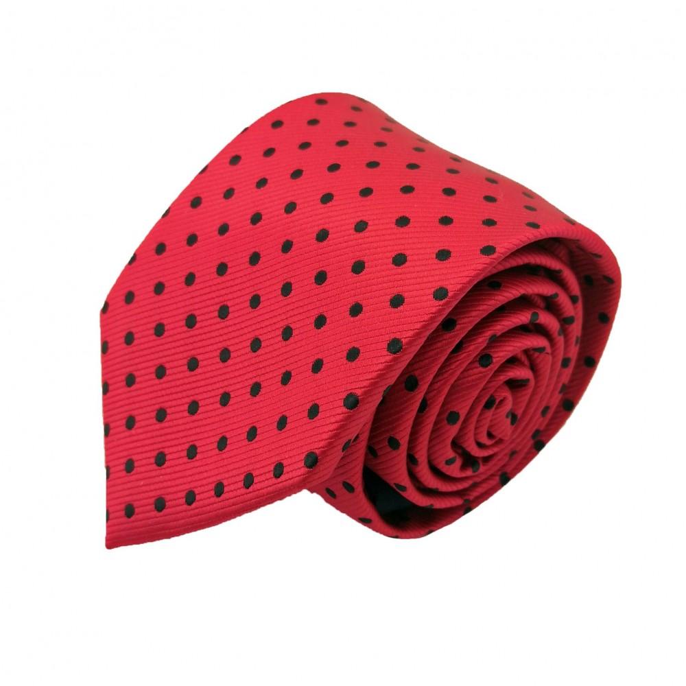 Cravate Homme Attora.Rouge à pois noirs