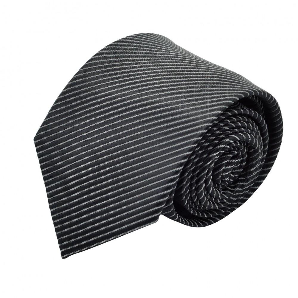 Cravate Homme Attora. Noir à fines rayures grises.