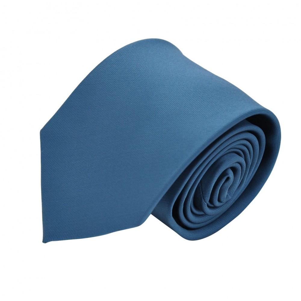 Cravate Attora. Bleue canard uni. 100% soie