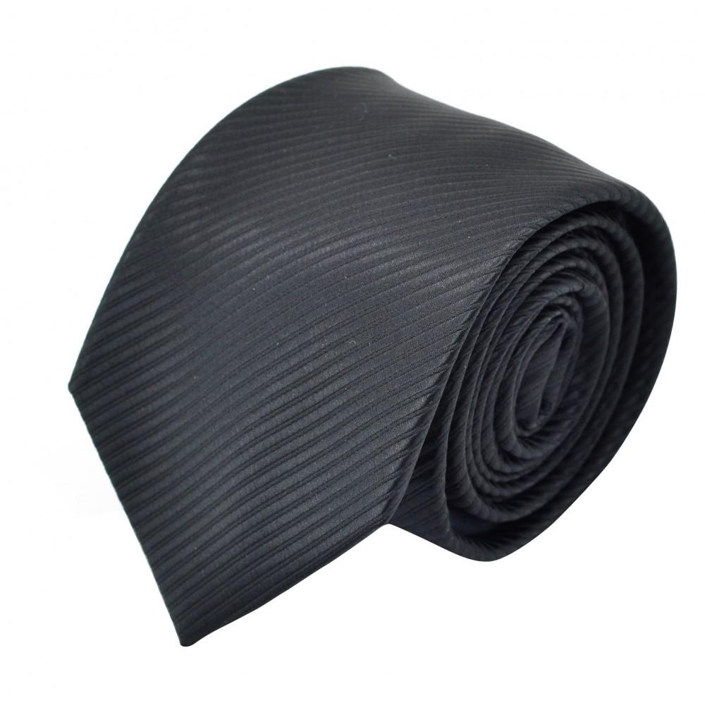 Cravate Homme Classique. Noir à fines rayures