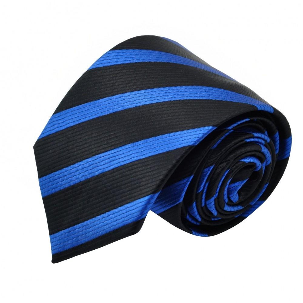 Cravate Homme Classique. Noir et bleu roi à rayures