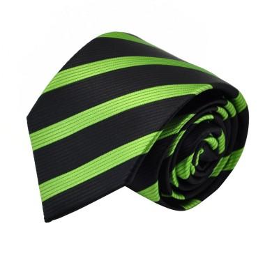 Cravate Homme Classique. Noir et vert à rayures