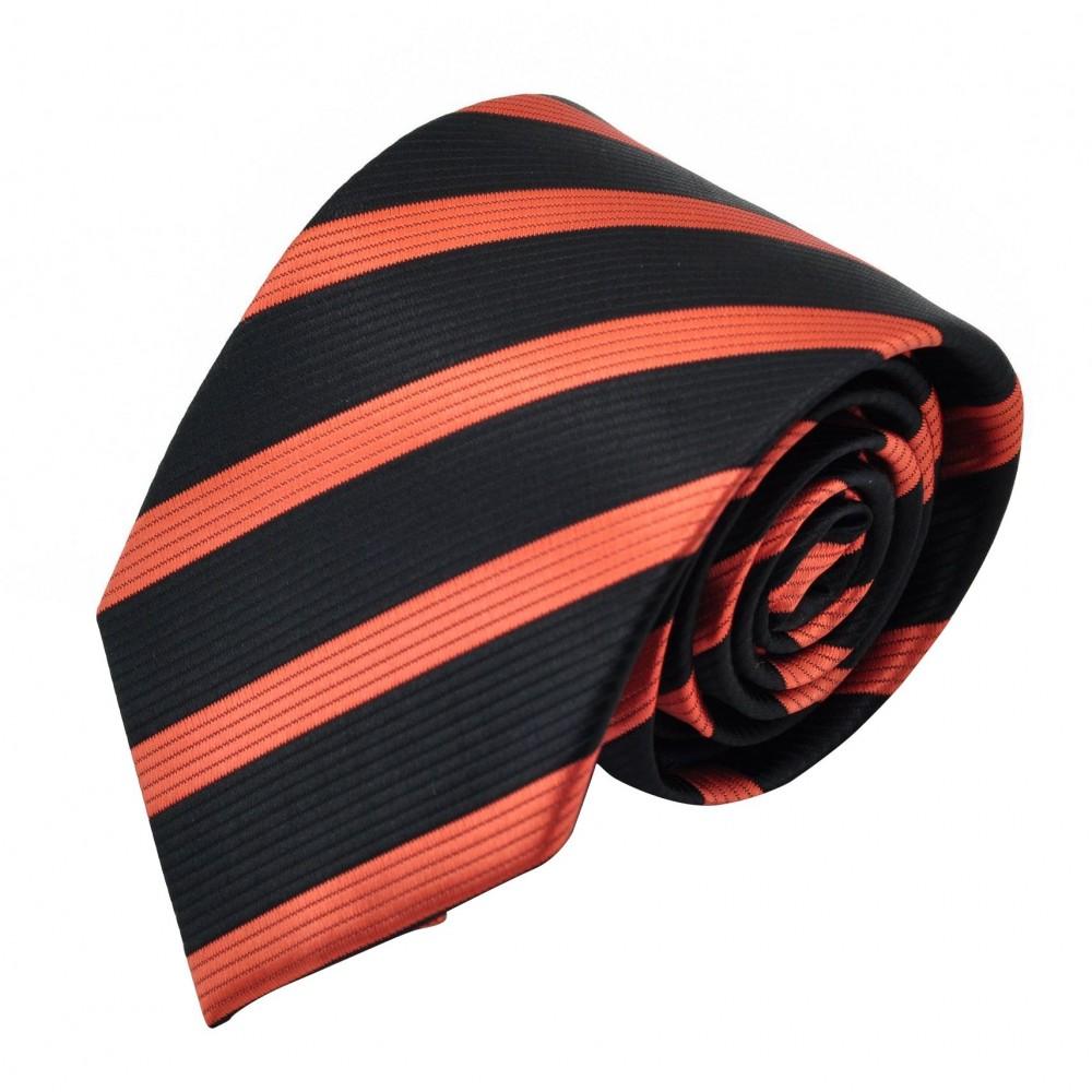 Cravate Homme Classique. Noir et orange à rayures