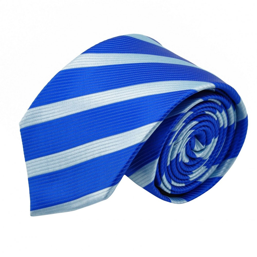 Cravate Homme Classique. Bleu roi et ciel à rayures
