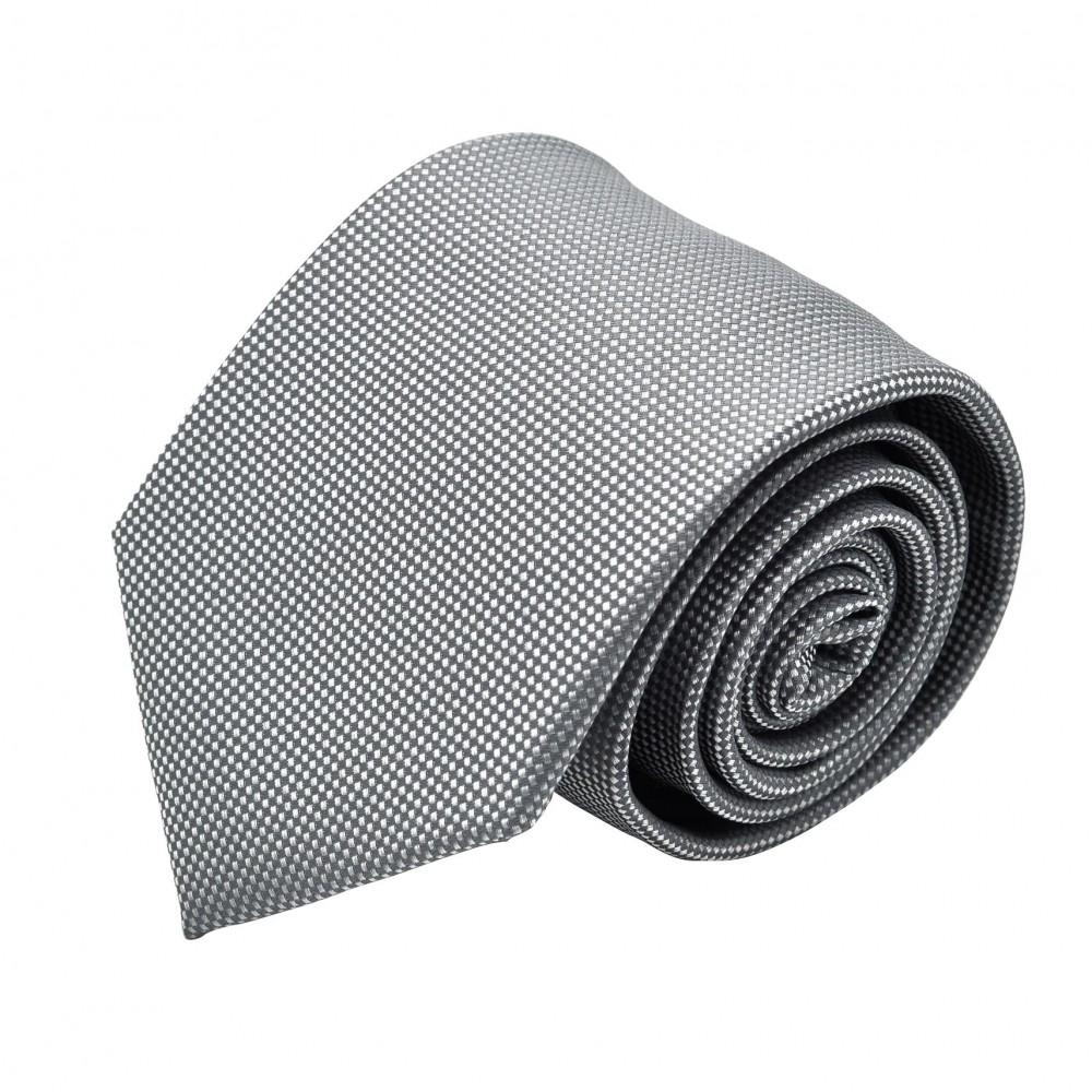 Cravate Homme Classique. Gris à fin quadrillage