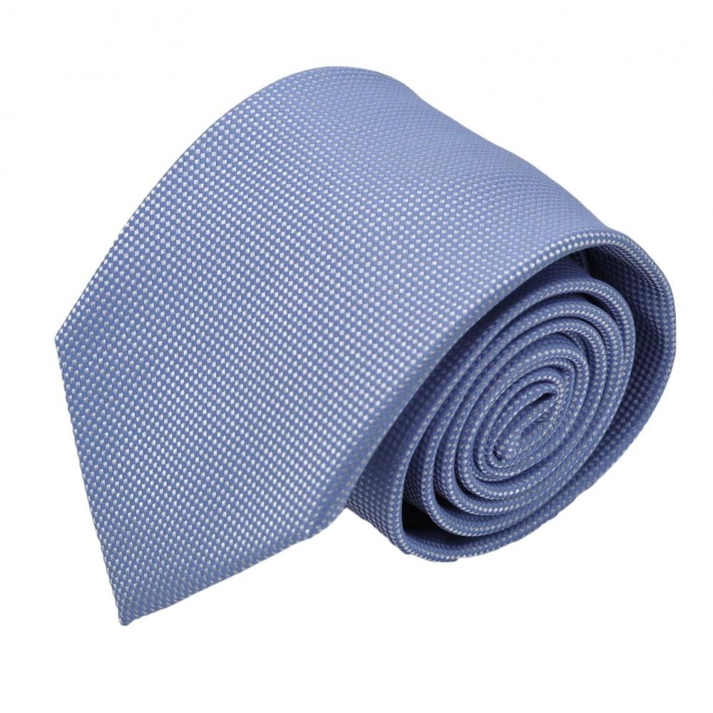 Cravate Homme Classique. Bleu ciel à fin quadrillage