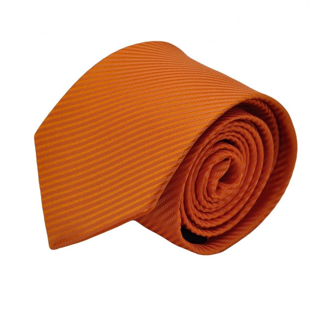 Cravate Homme Classique. Orange uni strié