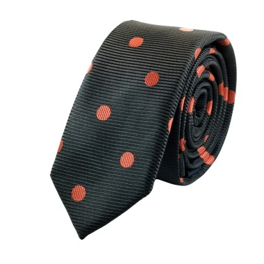 Cravate Attora. Noir à pois orange. Slim, étroite.