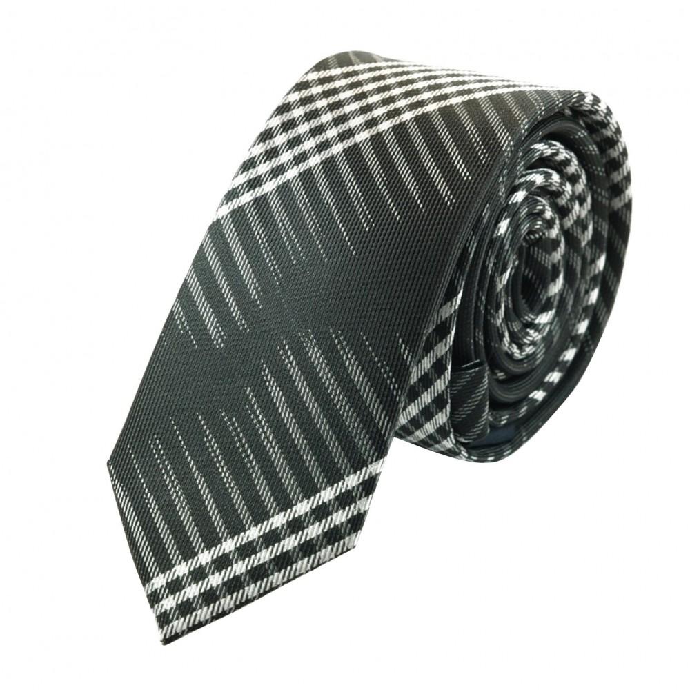 Cravate Attora. Noir à rayures originales. Slim, étroite.