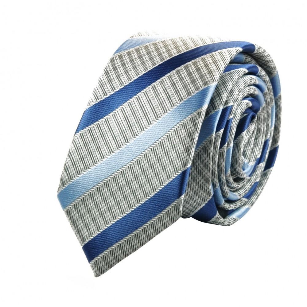 Cravate Attora. Gris et bleu à rayures. Slim, étroite.