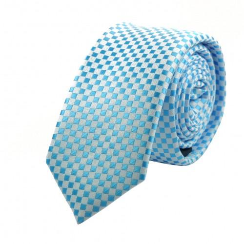 Cravate Attora. Bleu ciel à petits carreaux blancs. Slim, étroite.
