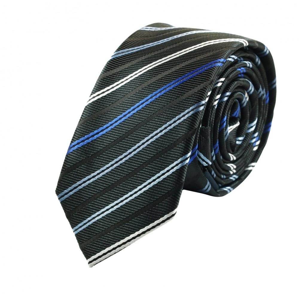 Cravate Attora. Noir à rayures blanches et bleues. Slim, étroite.