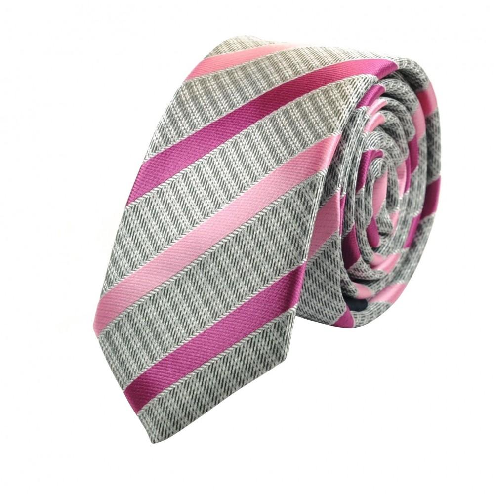 Cravate Attora. Gris et rose à rayures. Slim, étroite.