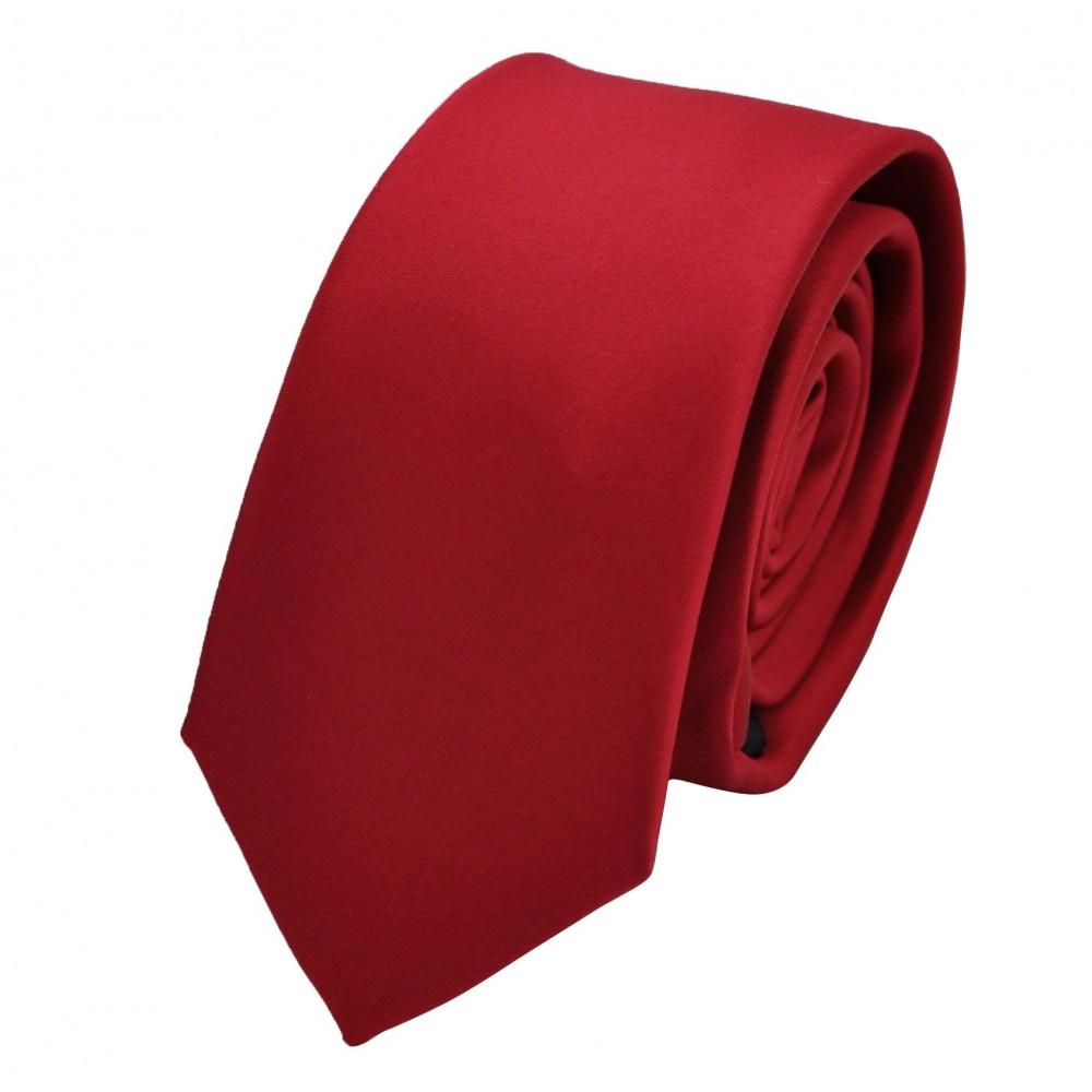 Cravate Attora. Rouge uni. Slim, étroite.