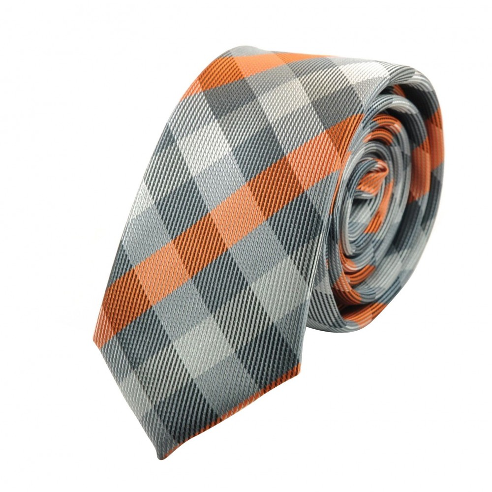 Cravate Attora. Gris et orange à carreaux. Slim, étroite.