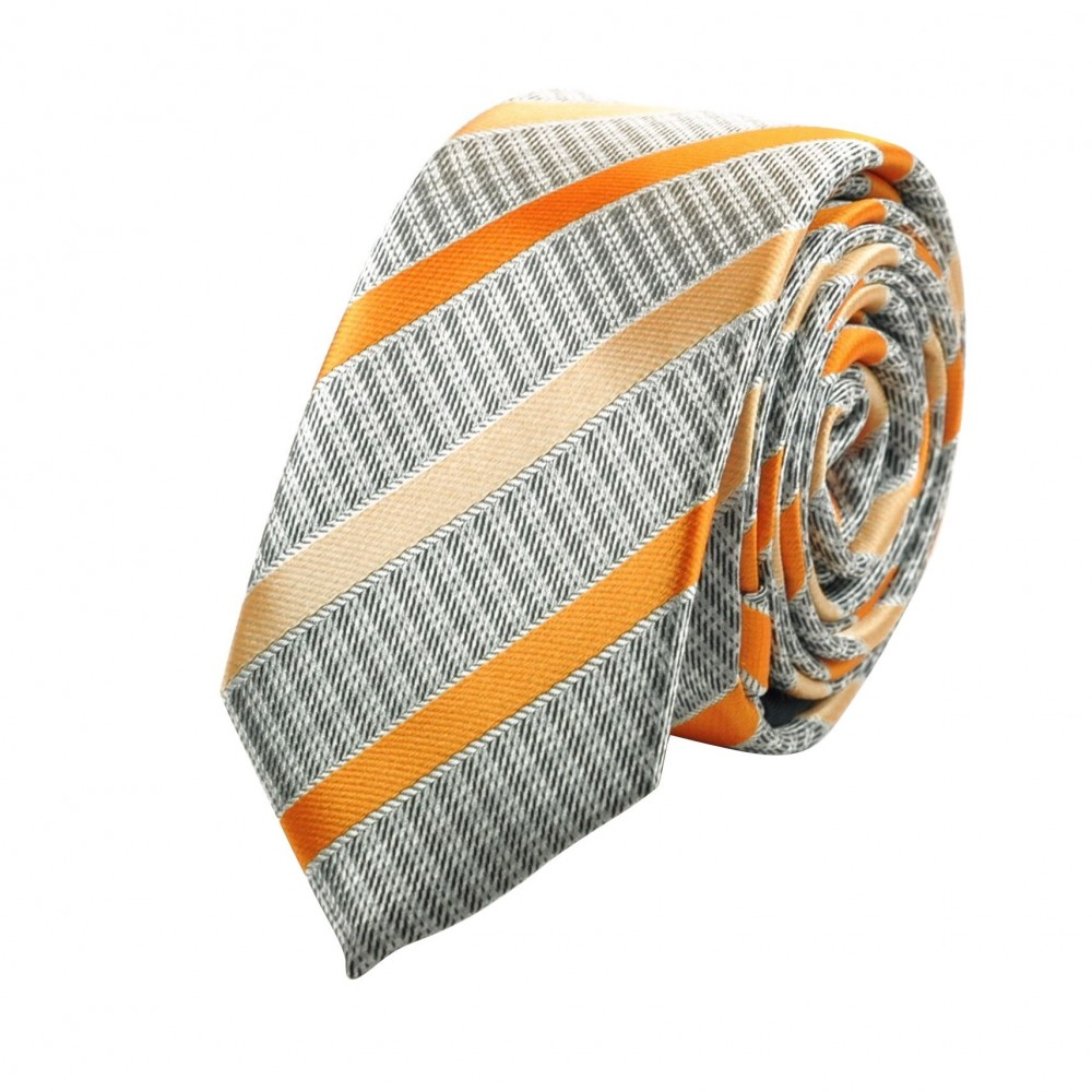 Cravate Attora. Gris et orange à rayures. Slim, étroite.
