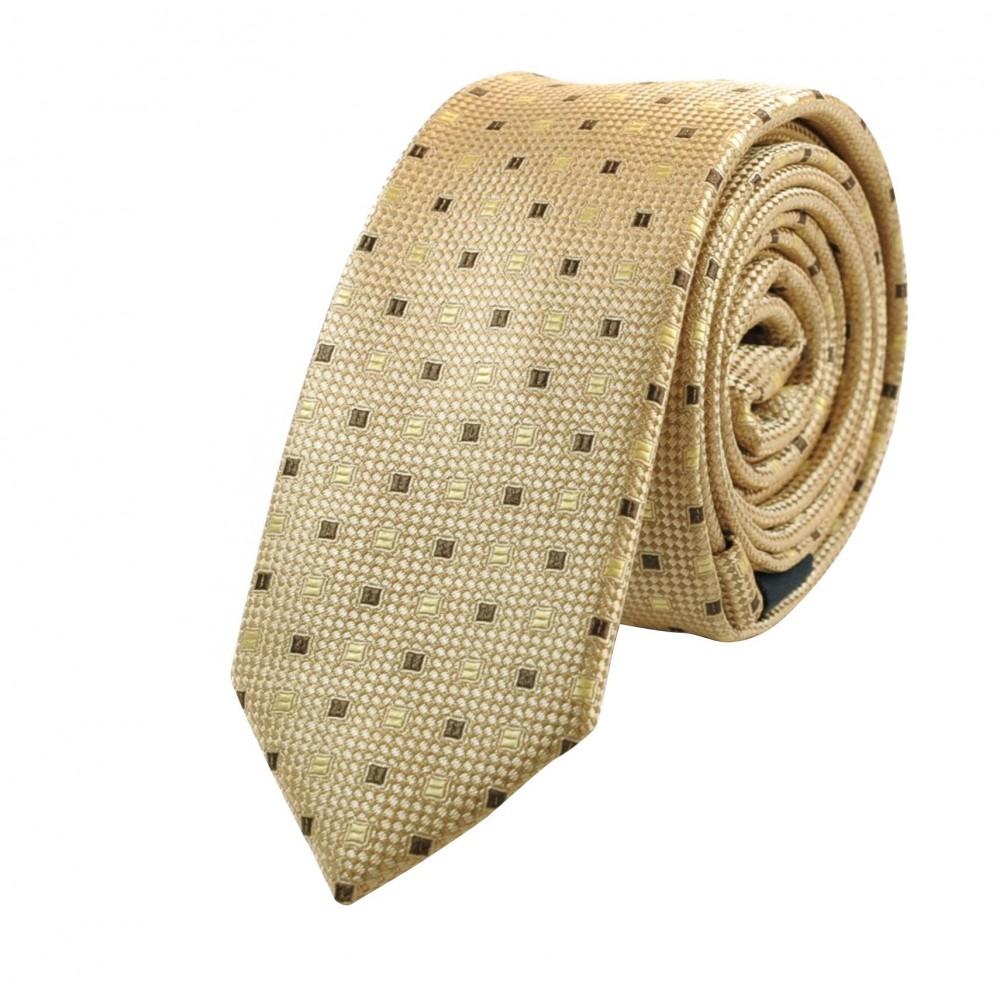 Cravate Attora. Ecru à petits motifs carrés. Slim, étroite.