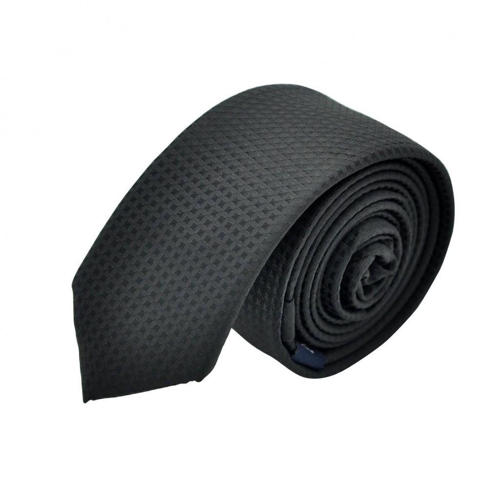 Cravate Slim en Soie. Noir à petits carreaux. Attora