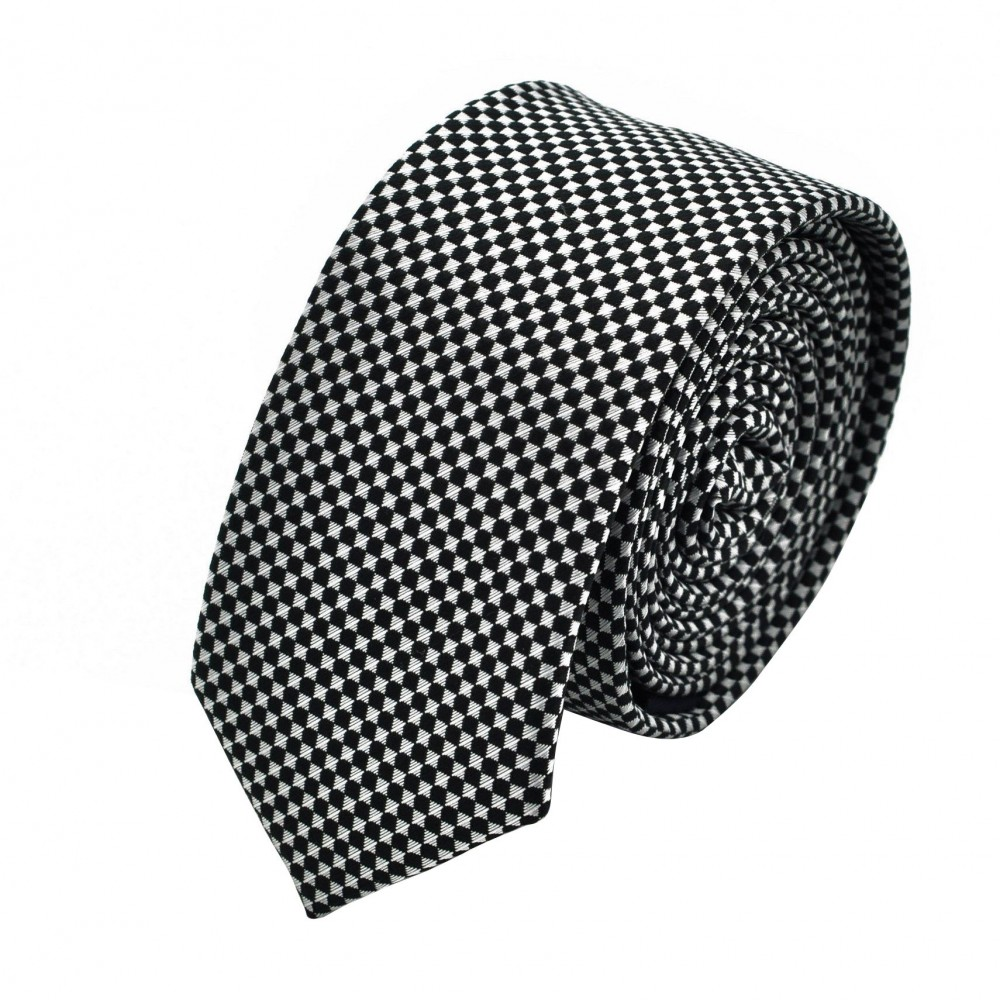 Cravate Slim homme gris/noir à petits carreaux. Attora