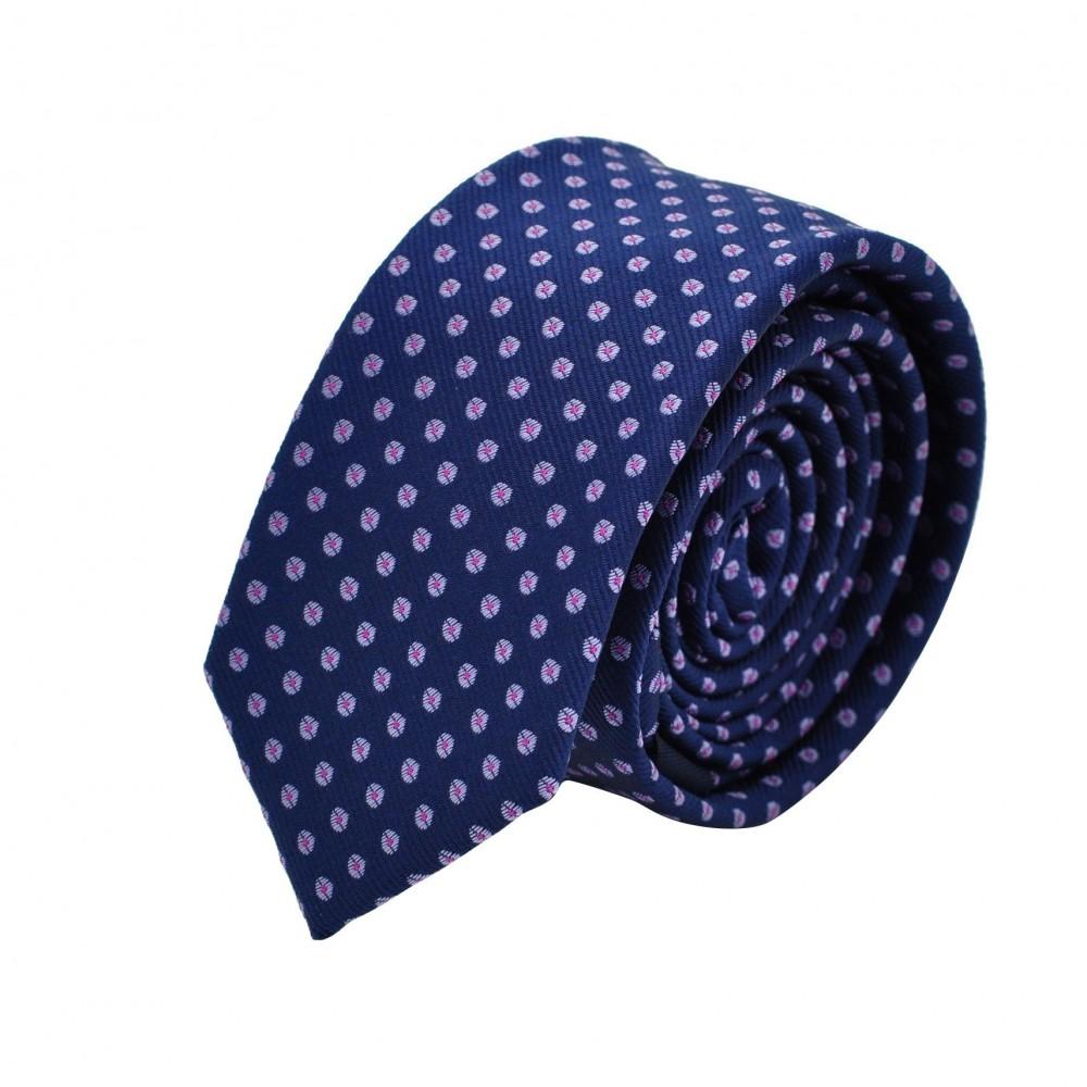 Cravate Slim homme bleue marine à motifs. Attora.