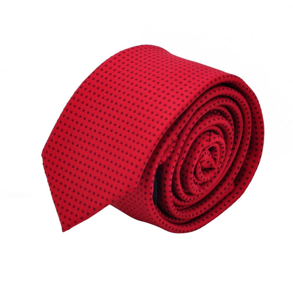 Cravate Slim homme rouge à fins pois noirs. Attora.