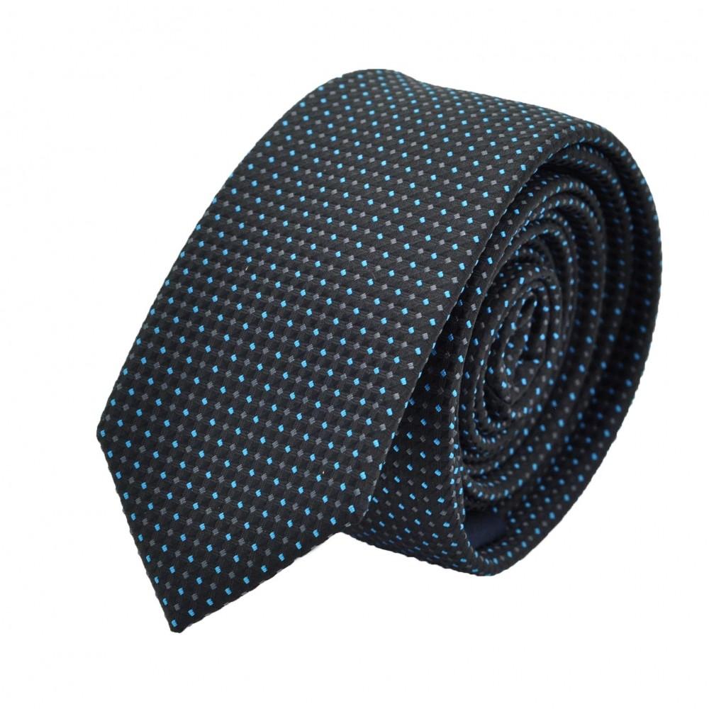 Cravate Slim homme grise foncée à petits carreaux. Attora