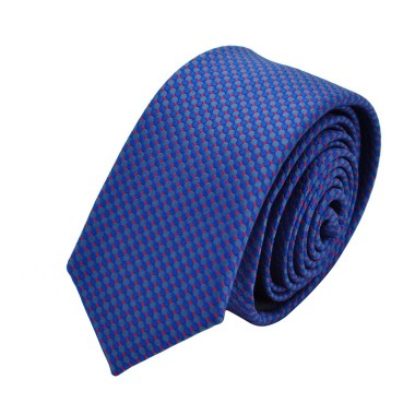 Cravate Slim homme bleue à motifs rouges. Attora