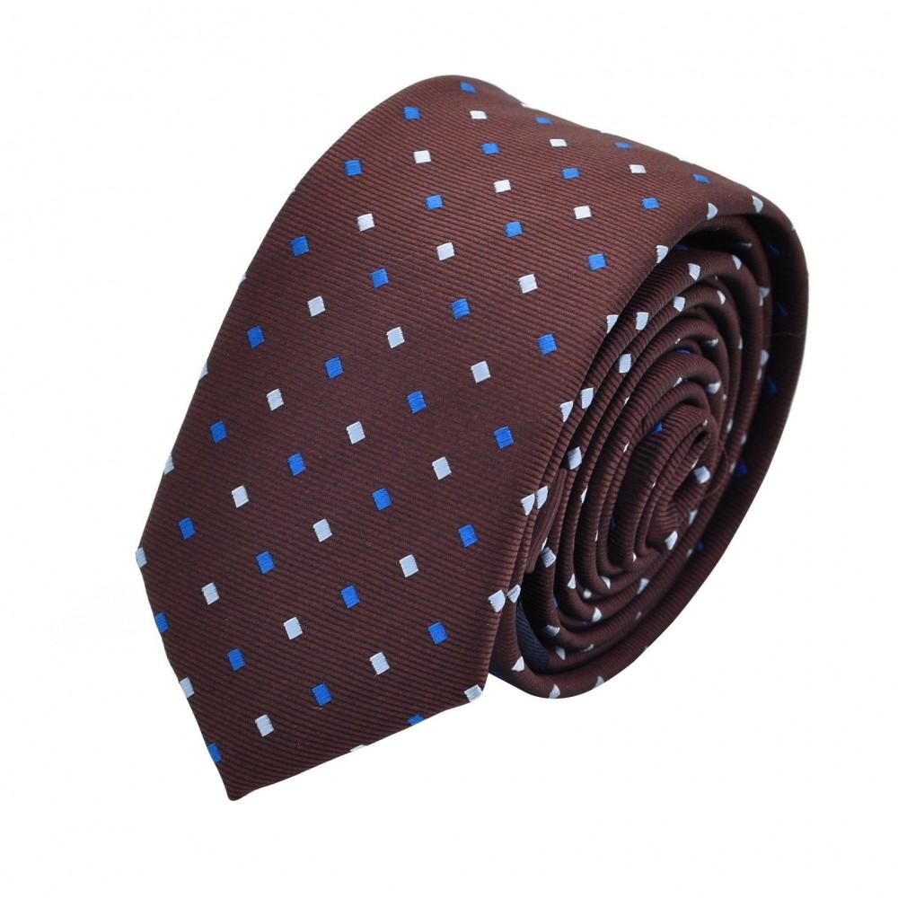 Cravate Slim homme marron chocolat à motifs bleus . Attora.