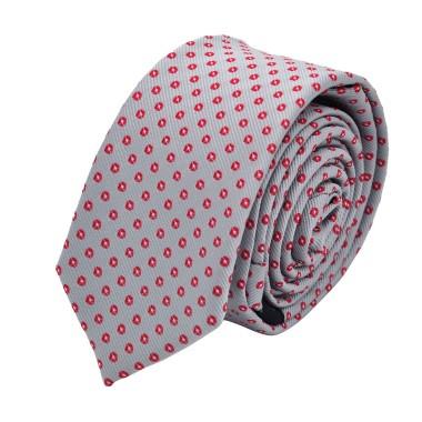 Cravate Slim homme grise à motifs rouges. Attora.