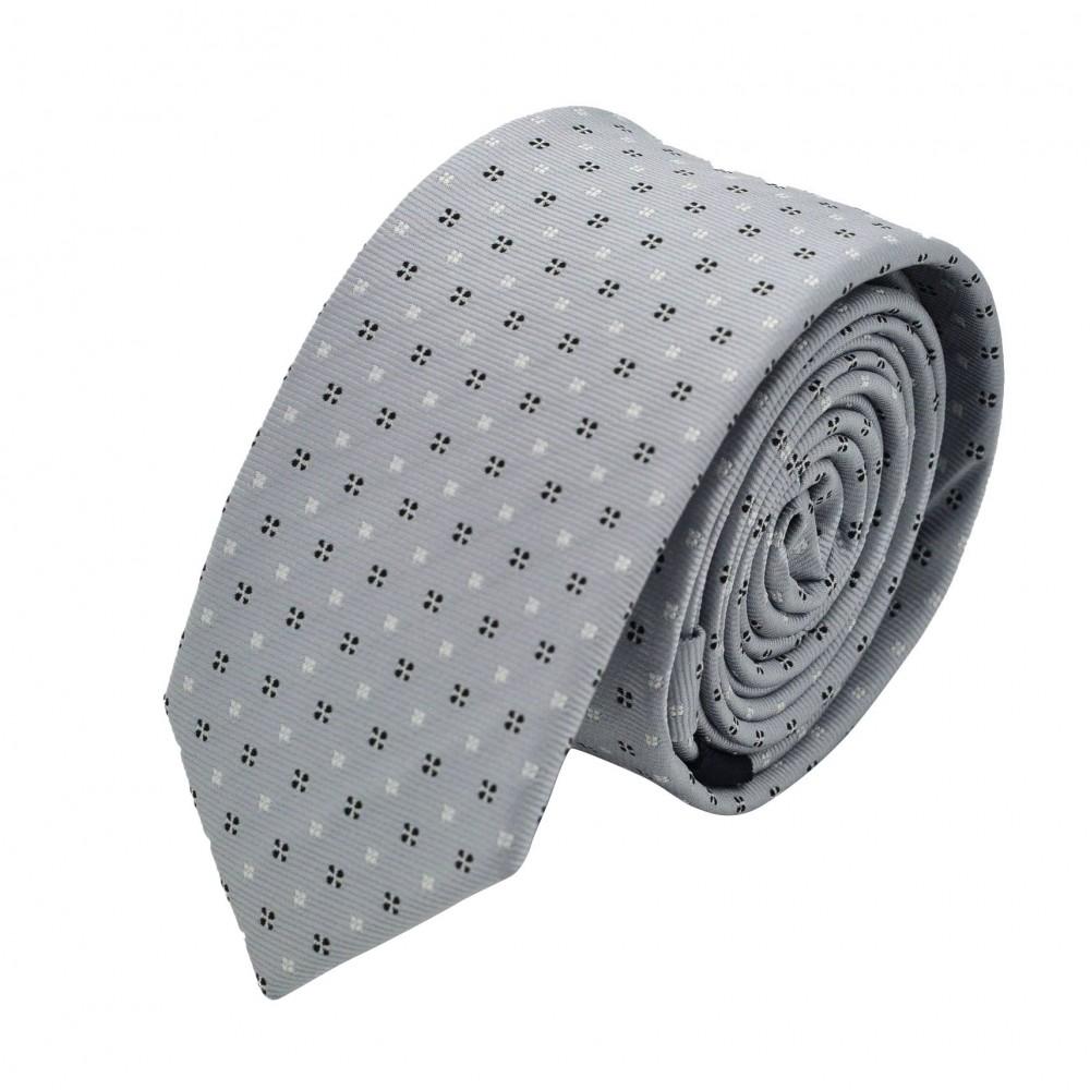 Cravate Slim homme gris/argent à motifs. Attora.