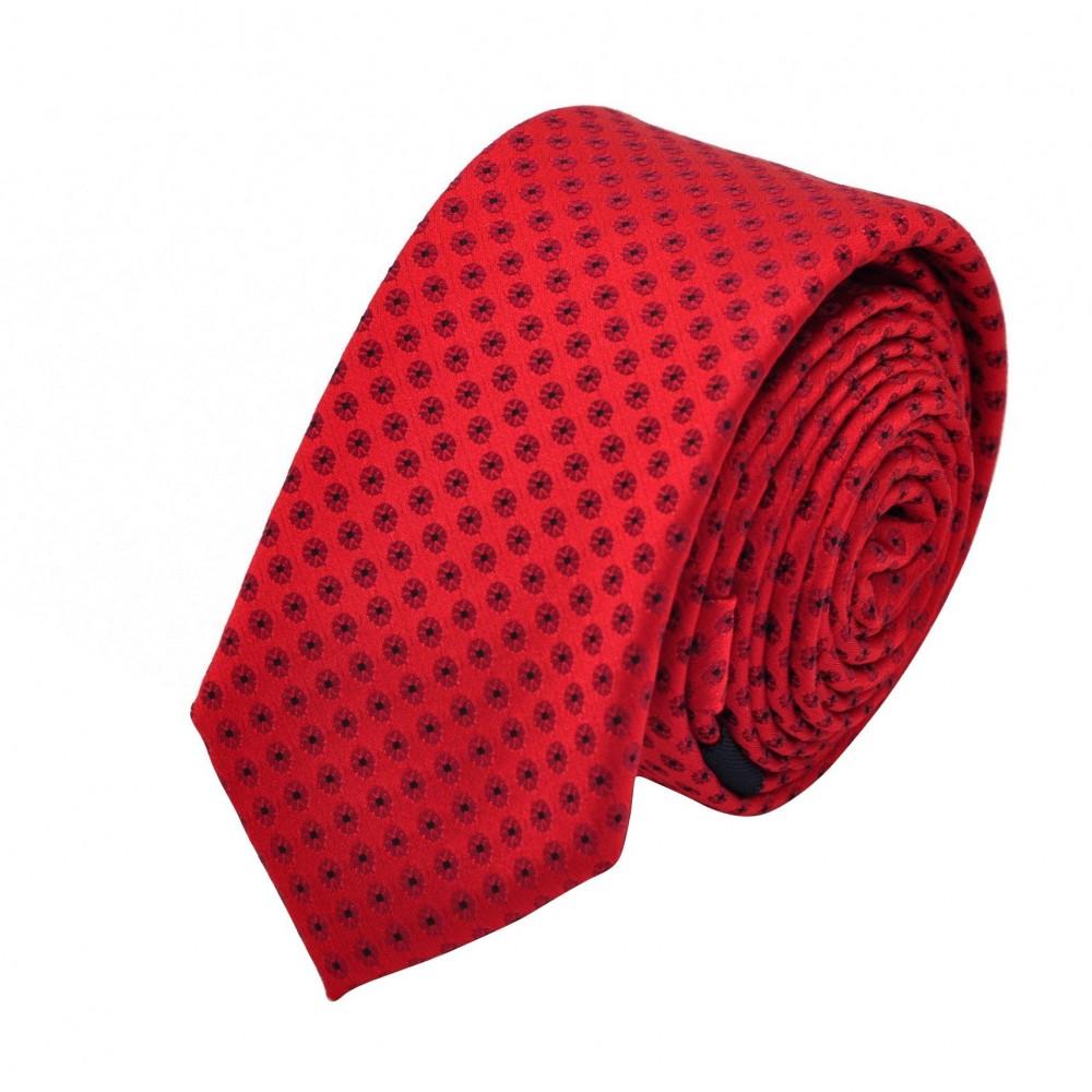 Cravate Slim homme rouge à motifs. Attora