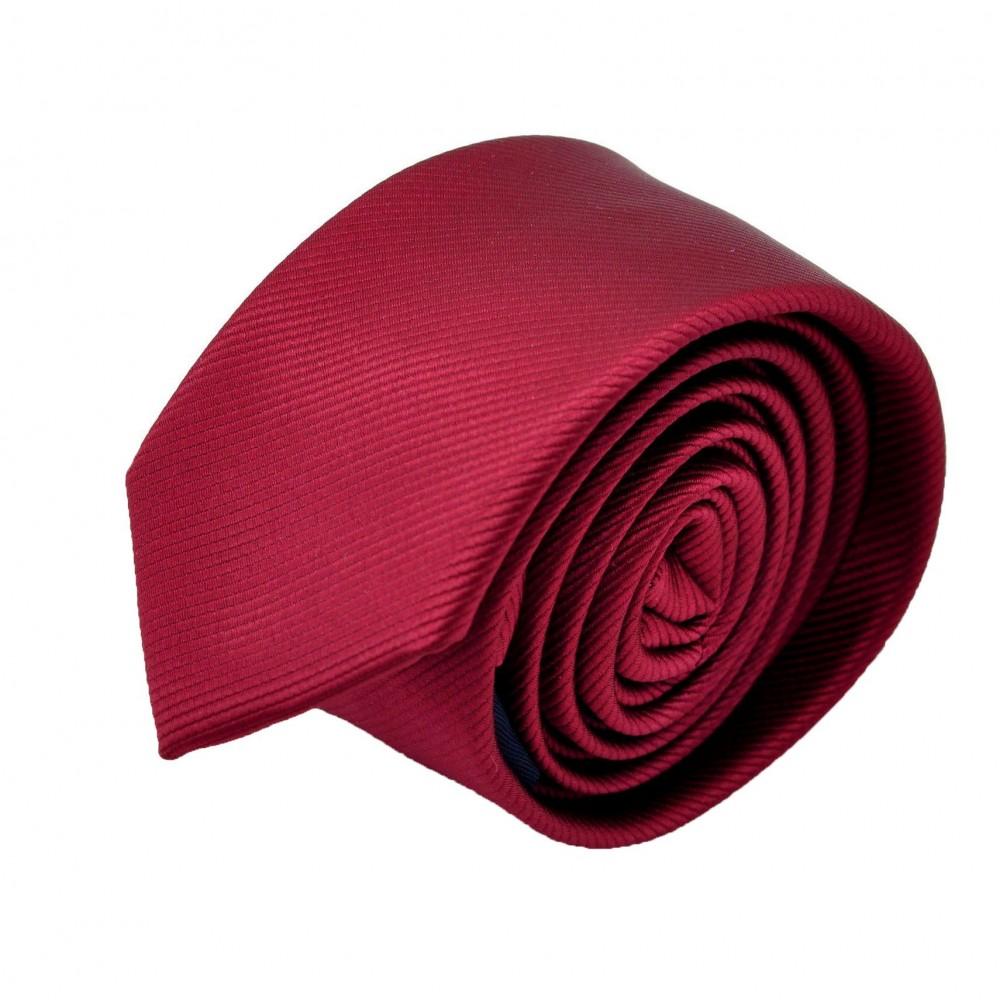 Cravate Slim homme bordeaux striée. Attora.