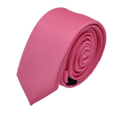 Cravate Slim homme rose striée. Attora.