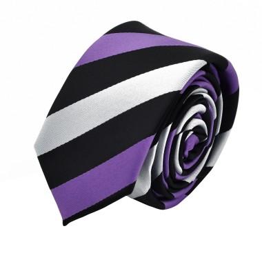 Cravate Slim homme Noire à grandes rayures violettes et grises