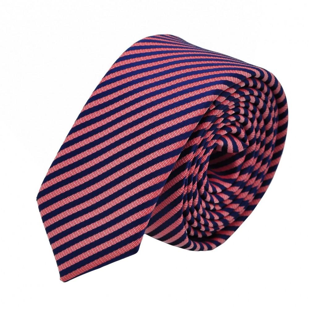 Cravate Slim homme Bleue marine et rose à rayures