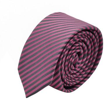 Cravate Slim homme Rose et gris à rayures
