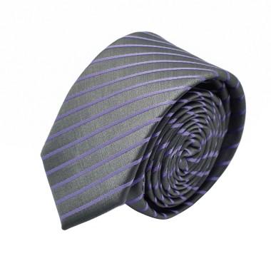 Cravate Slim homme Grise à rayures violettes