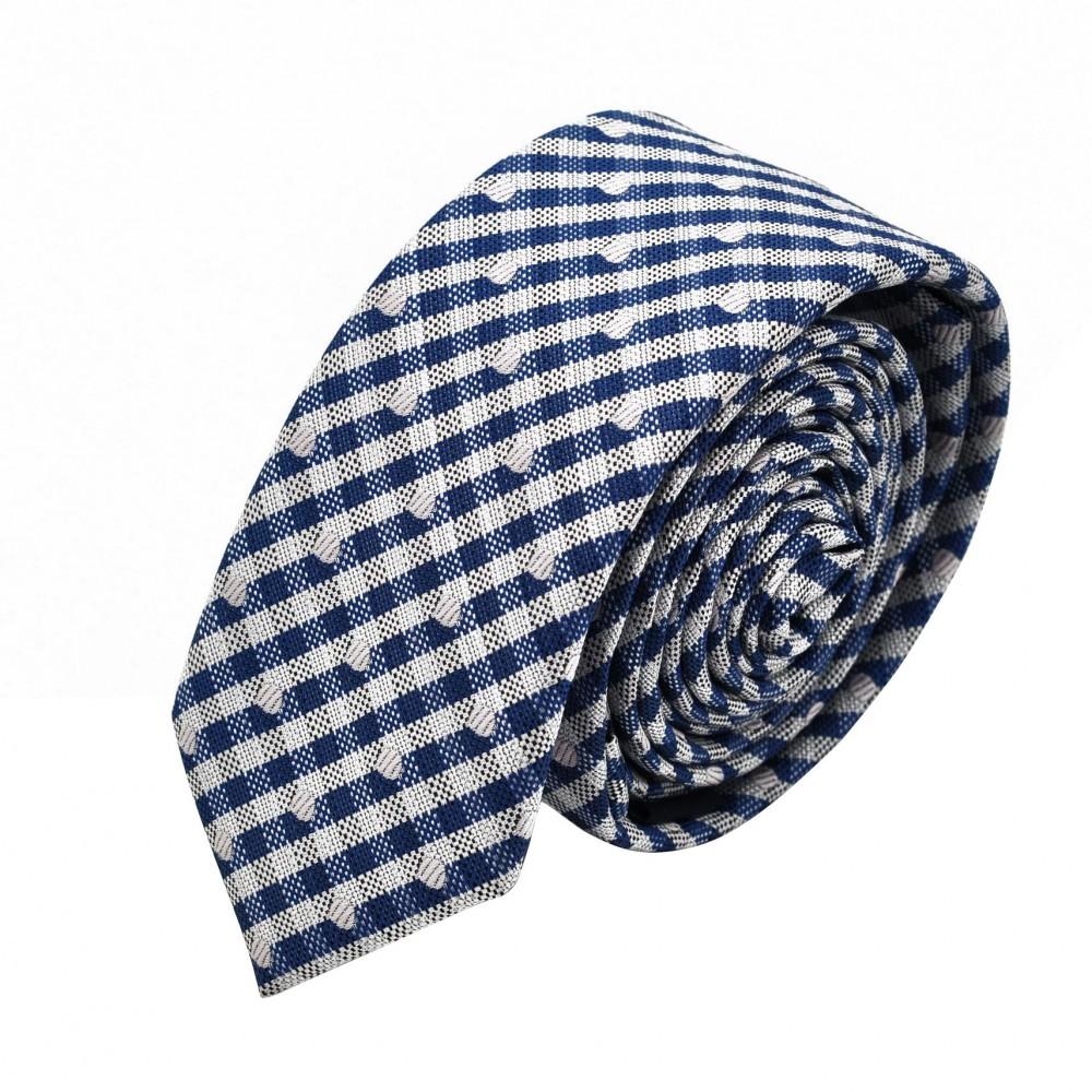Cravate Slim homme Bleue quadrillée et pois